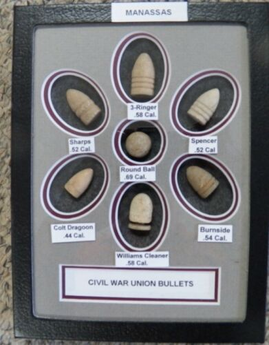 "Nice Starter Set Of Excavated Matted Yankee Civil War Bullets In 6X8/"" Riker Case"