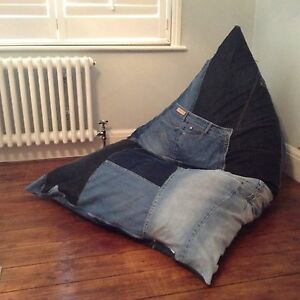 Details About Wedge Bean Bag Lounger R Chair Beanbag 2 Sizes Uk Handmade Upcycled Denim