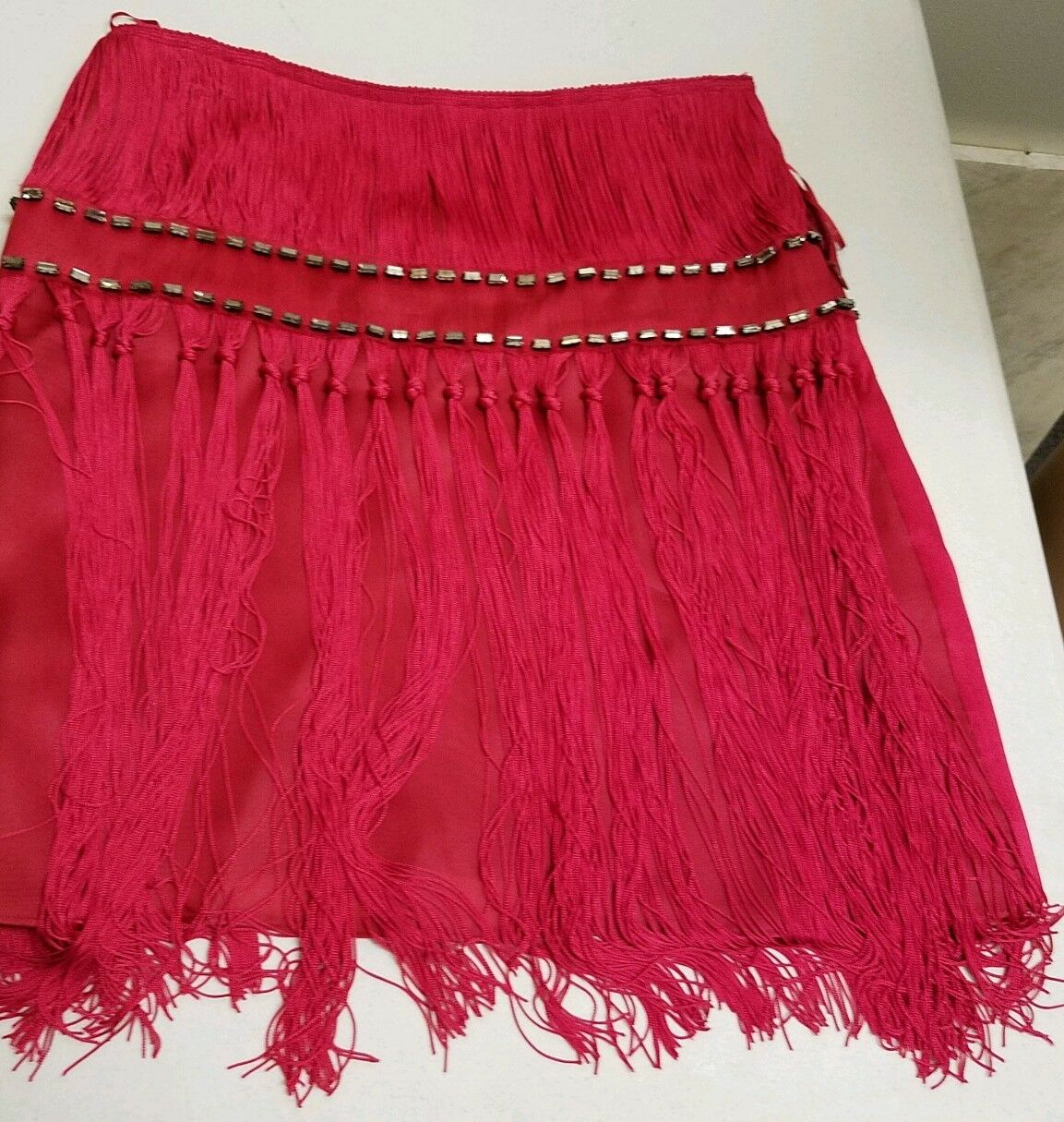 ALBERTA FERRETTI Skirt Red Silk with Fringe & Crystals Sz 40 US 4 retail  2230
