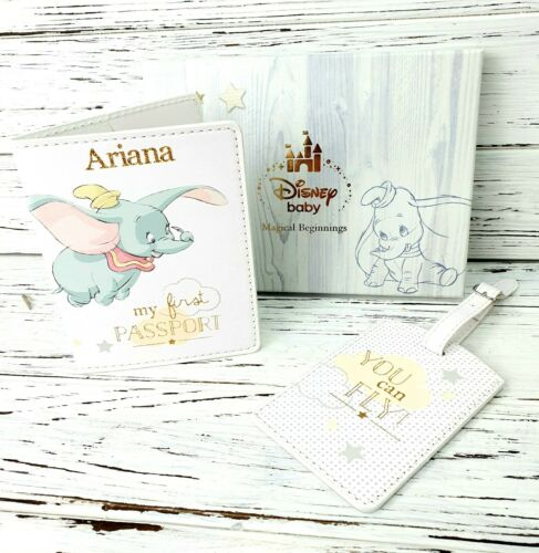 Personalised Disney Baby First Passport Cover and Luggage tag Gift Set Dumbo