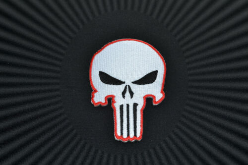 Skull,The Punisher,Patch,Aufnäher,Aufbügler,Badge,Iron On,Badge,White /& Red