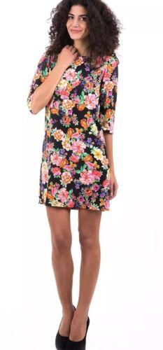Bank floral mini shift dress crepe light weight summer tunic dress black