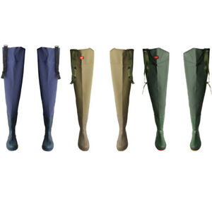 PVC-HIP-WADERS-SIZE-40-45-WATERPROOF-FLY-COARSE-FISHING-THIGH-BOOTS-Waders