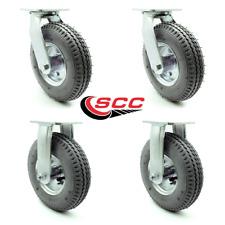 8 Inch Gray Pneumatic Wheel Caster Set 2 Swivel 2 Rigid Service Caster Brand