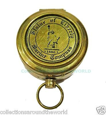 Vintage Brass Metal Statue Of Liberty Navigation Pocket Compass Marine Nautical