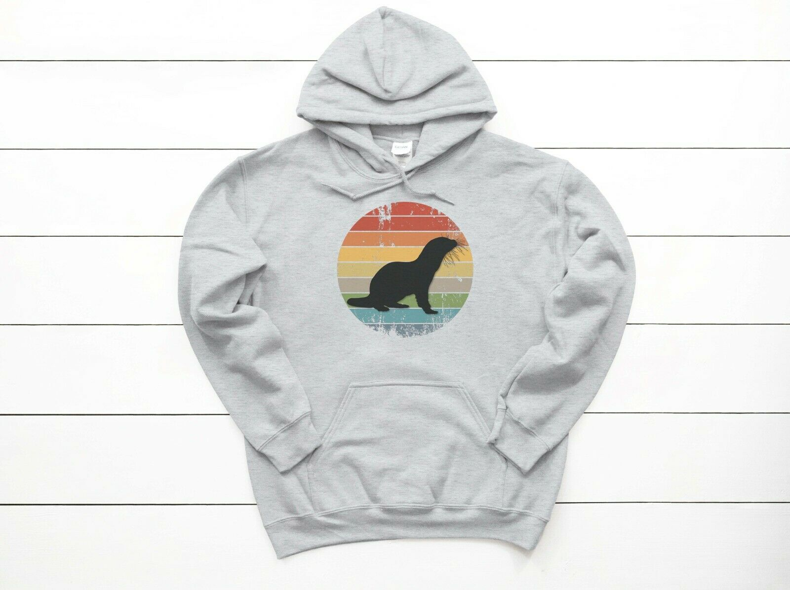 OTTER HOODIE, Otter Sunset, UNISEX,YOUTH & ADULT SIZES, RIVER OTTER HOODIE