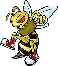 "Cartoon Angry Bee Mascot Car Bumper Sticker Decal 4"" x 5"""
