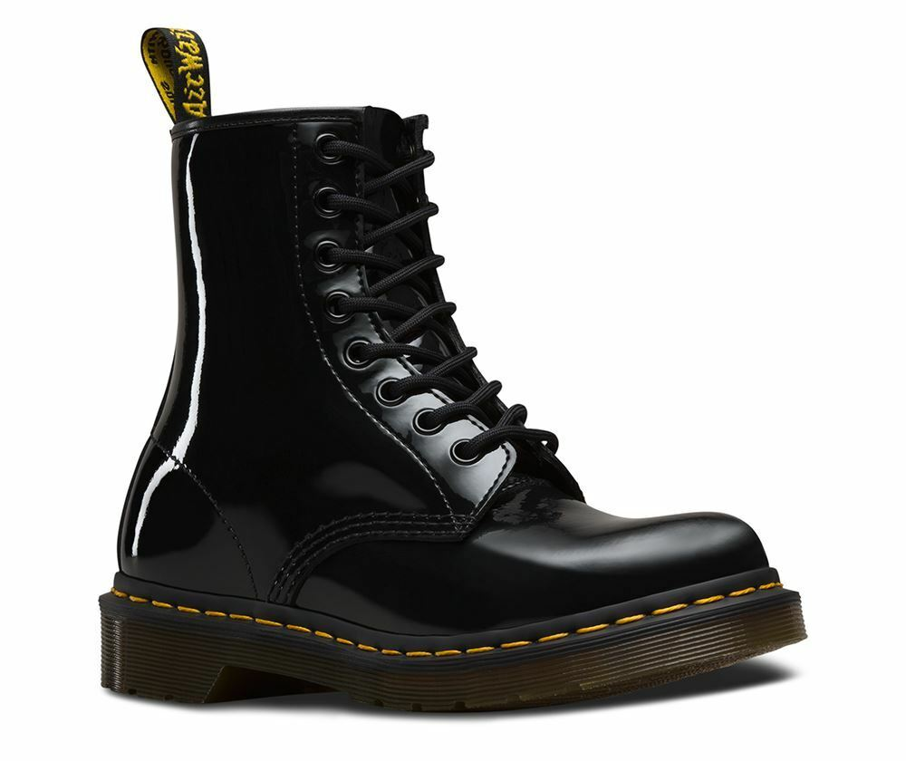 Zapatos especiales con descuento Dr Martens Ladies 1460 Classic Shiny Black Patent Leather 8 Eye Ankle Boots