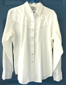 Ely-s-Country-Charmers-Womens-Western-Cowboy-Embroidered-White-Shirt-Size-XL