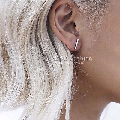 Blogger Fav Chic Celebrity 1Pair Simple Smooth Bar Ear Studs Earrings Gift H6