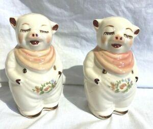 Shawnee Smiley Pig Salt/Pepper Shakers Flower Pre 1950s Vintage