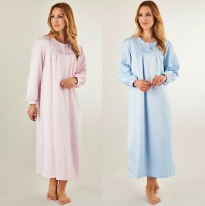 ef70602968 Slenderella Women s Luxury Long Sleeve Nightie. Brushed Back Satin ...