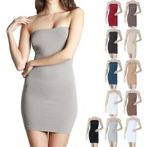 689cfe778d Image is loading High-Quality-Seamless-Strapless-Tube-Tunic-Dress-Good-