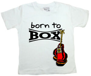 "SALE ITEM White T-Shirt 3/4 yrs ""Born to Box"" End of Line item."