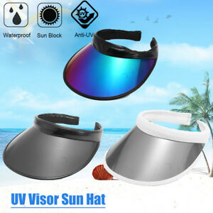 12273d7622ef Summer UV Plastic Visor Sun Hats Clear Tennis Beach Hat Protection ...