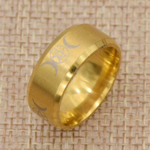 Stainless Steel Triple Moon Godness Ring Gold Finger Rings Unisex Jewelry Gifts