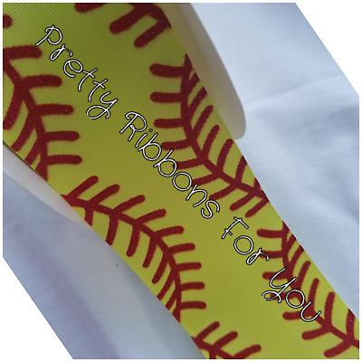 "Baseball Grosgrain Ribbon 3/"" Neon Yellow Softball"