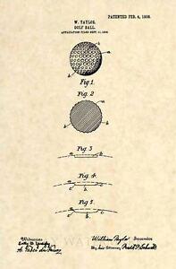 Official-1908-Golf-Ball-US-Patent-Art-Print-Vintage-Original-Antique-Art-186