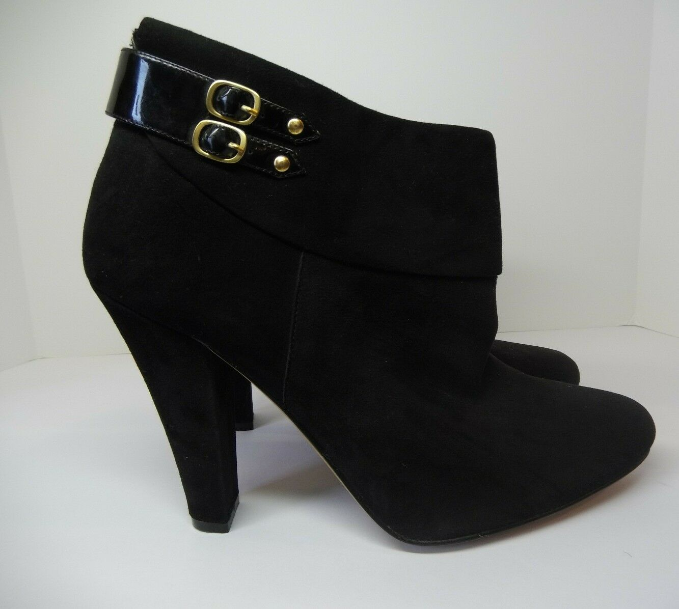 STEVEN By Steve Madden  ELLUSION  Black Suede Ankle Boots Womens Sz 10 Illusion