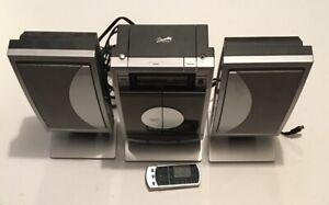 Sharper Image Stereo Cd Player Radio Alarm Clock Music Speaker System w/ Remote