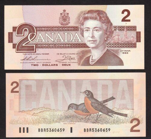 P94 Queen Elizabeth banknote 1986 UNC Canada 2 Dollar