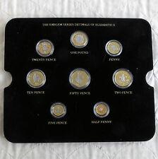 QEII 8 moneda decimal Set en capas en oro puro acentuado con rodio platino