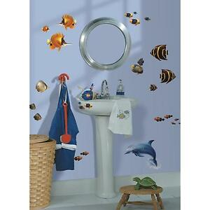 Sea life under the sea wall stickers 24 decals bathroom for Under the sea bathroom ideas
