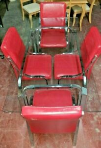Details about Mid Century Chrome Glass Dining Room Set - Red Matching Chairs