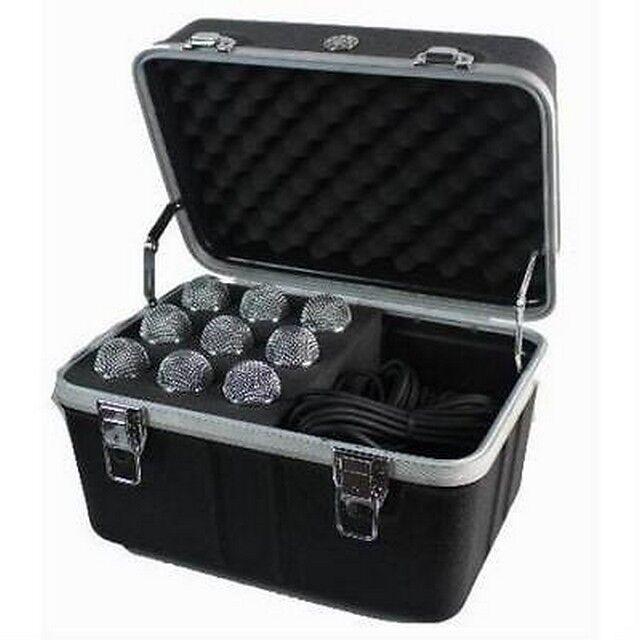 MCM-555-15644 9 Microphone Mic Flight Case Box, Foam, Handle, Accessory space