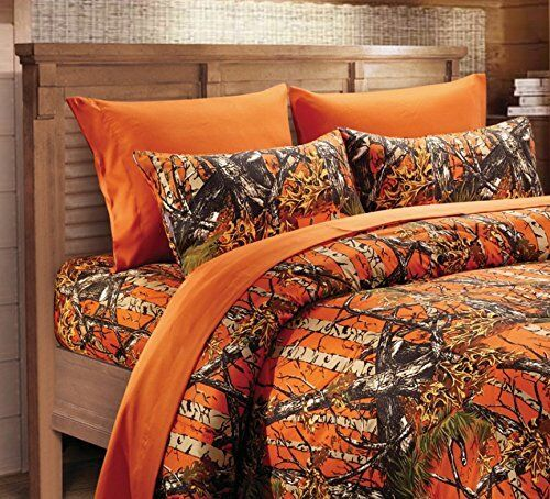 Orange Camo Sheet Set Cal King Size Bedding 6 PC Camouflage Western Woods  Blaze | EBay