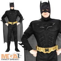 Deluxe Dark Knight Batman Adult Fancy Dress Superhero Black Muscle Mens Costume