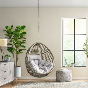 Hempstead Indoor Outdoor Wicker Hanging, Hanging Egg Chair Outdoor No Stand