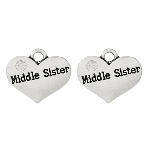 5 ANTIQUE SILVER MIDDLE SISTER HEART CHARM//PENDANT~EMBELLISHMENTS~CHAIN 79 UK