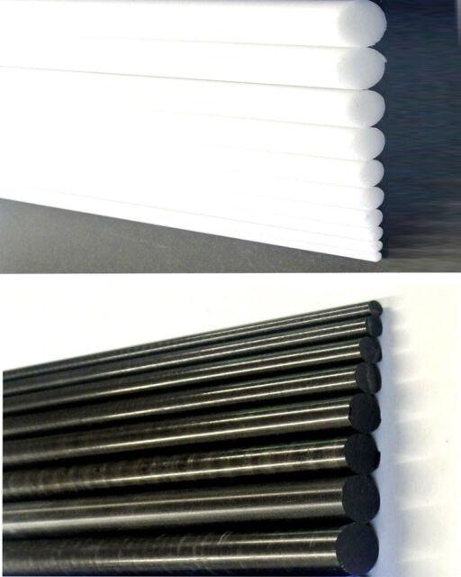 5-15mm Black//White Acetal Rod Plastic Round Bar Engineering Billet Spacer New