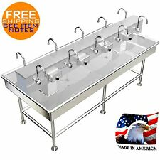 ISLAND 10 USERS 92X40 WASH UP HAND SINK ELECTRONIC FAUCET HANDS FREE MADE IN USA