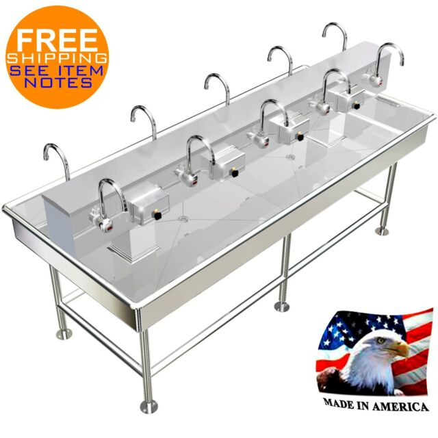Island 10 Users 92x40 Wash up Hand Sink Electronic Faucet Hands Made ...