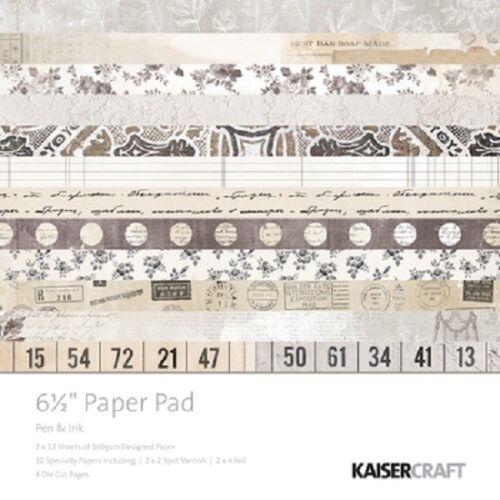"""Kaisercraft /'PEN /& INK/' 6.5/"""" Paper Pad Vintage//Sepia//Butterflies KAISER"""