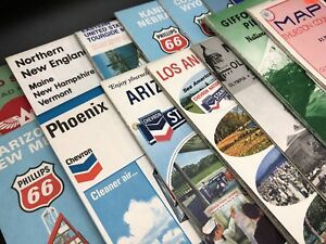 Lot 15 Vintage 1960's US State, County & City, Travel Road Boating Maps (RF908)