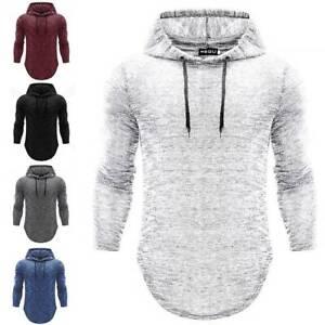 Mens-Hooded-Tee-Muscle-Tops-Slim-Fit-Casual-Hoodie-T-shirt-Long-Sleeve-Pullover