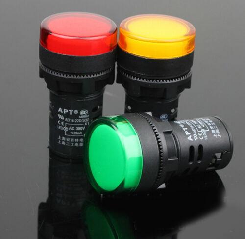 3PCS AD16-22D//S31 AC220V 20mA Energy Saving LED Indicator Light Green Yellow Red