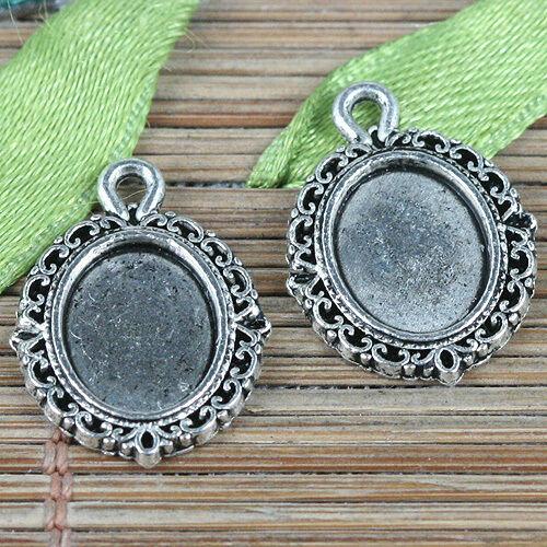 44pcs tibetan silver tone oval rim cabochon settings charms EF0331