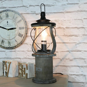 Vintage Aged Wooden Miners Lantern Style Table Lamp Living