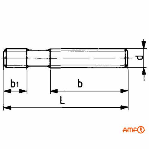 Stiftschraube D6379 M20 x 315mm AMF 84996 vergütet auf Festigkeitsklasse 8.8