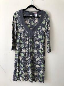 White-Stuff-Grey-Green-Print-Floral-Dress-V-Neck-Cotton-Size-12-A0407
