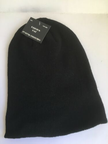 KNITTED BEANIE HAT WINTER WARM UNISEX MENS AND LADIES  HAT BLACK NEW SALE