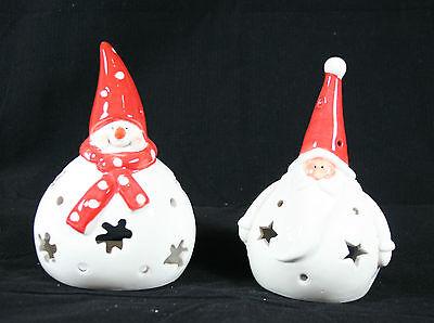 Babbo Natale O Pupazzo Di Neve T Luce Candela Titolare Tè Novità Babbo Natale Decorazione-