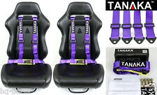 2 X TANAKA UNIVERSAL PURPLE 4 POINT BUCKLE RACING SEAT BELT HARNESS