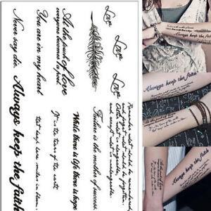 2-abnehmbare-Taetowierung-Englisch-Wort-Body-Art-Tattoos-Aufkleber-wasserdicht