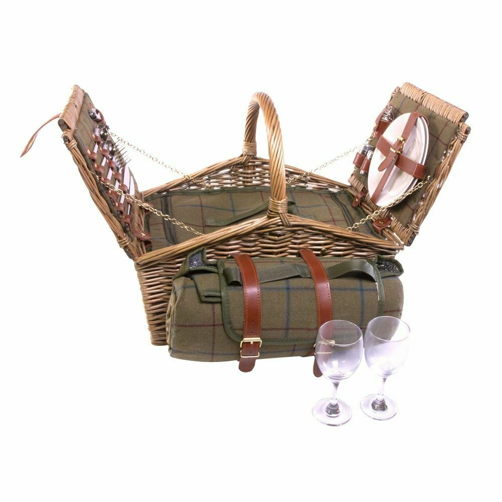Double Lidded 2 Person Grün Tweed Fitted Picnic Basket