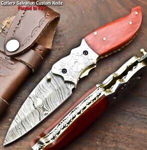 Handmade Damascus Pocket Liner Lock Folding Knife | Engraved Steel Bolsters